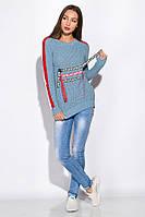 Свитер женский с нашивками 120PVA1007 (Светло-голубой)