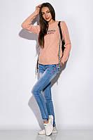 Свитер женский с нашивками 120PVA1032 (Персиковый)