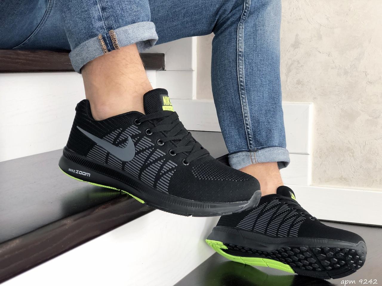 Мужские кроссовки Nike Zoom, черные с салатовым / кросівки чоловічі Найк (Топ реплика ААА+)