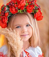 Вінок з квітів для виступів  Ексклюзив (червоний)