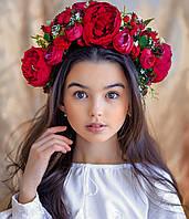 Вінок з квітів для виступів  Ексклюзив (вишневий)