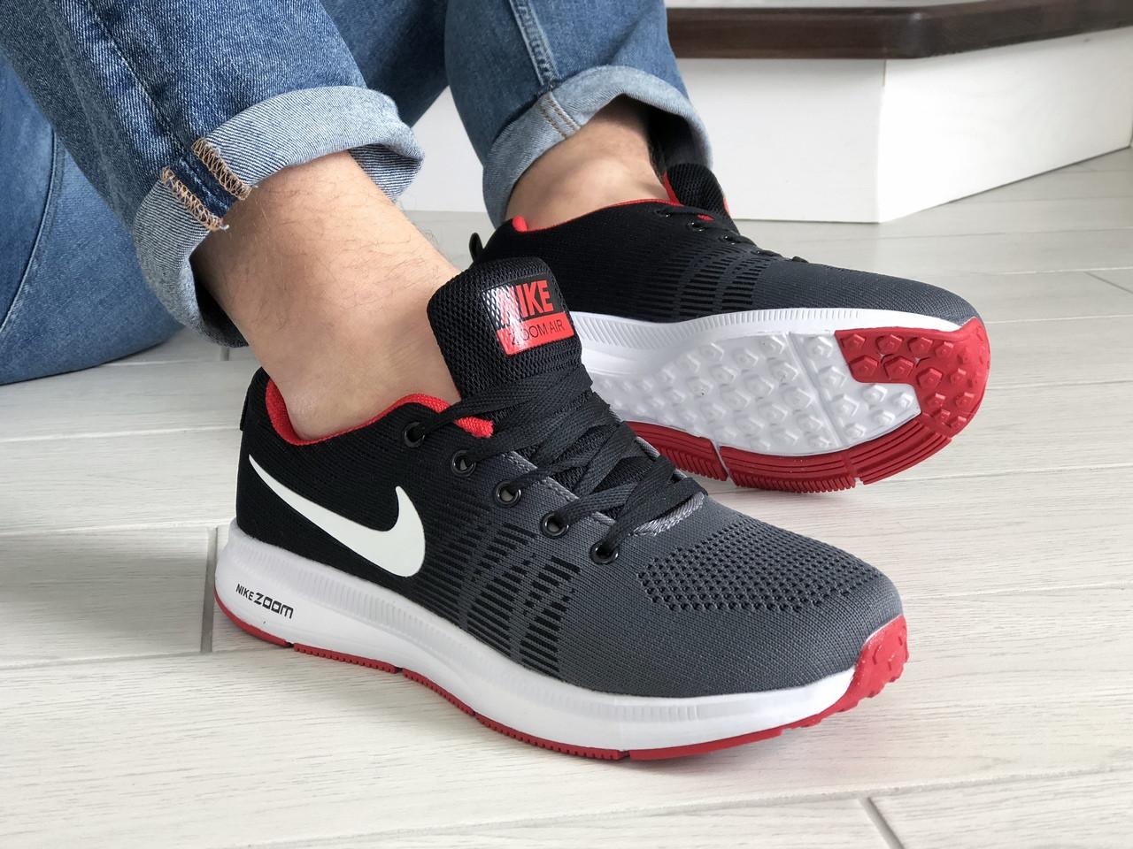 Чоловічі кросівки Nike Zoom, сірі з червоним / кросівки чоловічі Найк (Топ репліка ААА+)