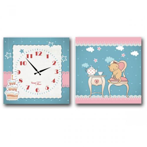 06-104 Часы настенные Детский на холсте В гостях