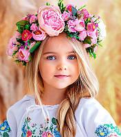 Вінок з квітів для виступів  Ексклюзив (рожевий)