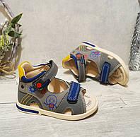 Детские босоножки 21-25 Том.м для мальчиков серые сандалии