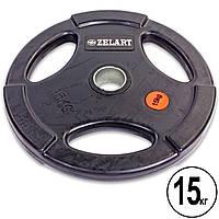 Блины (диски) обрезиненные с тройным хватом и метал. втулкой d-51мм (1шт*15 кг)(скидка за пару), фото 1
