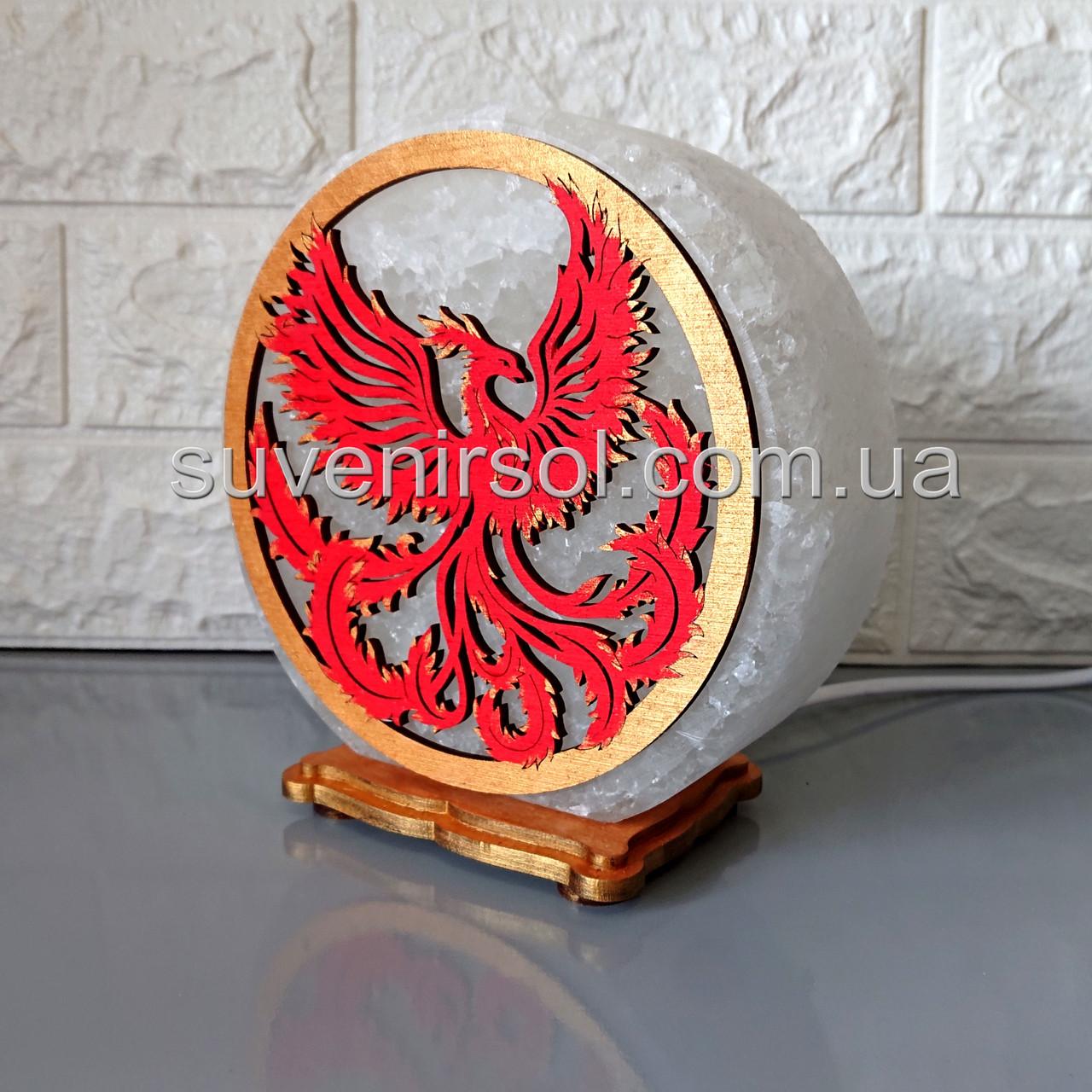 Соляной светильник круглый Феникс цветной