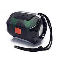 Маленькая Беспроводная bluetooth колонка TG-162 Pulse 5 W с  влагозащитой и разноцветной подсветкой Черная