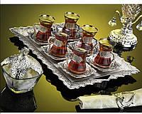 Набор чайных стаканов Doreline Damla серебристый на 6 персон, фото 1