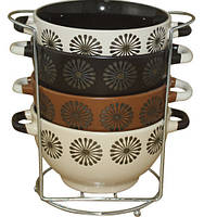 Набор мисок с ручками 4шт 700мл на стойке Аромат кофе S&T 3629-04-D