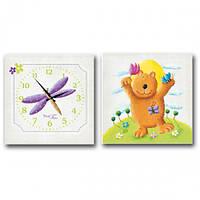 Часы настенные детский на холсте Мишка S & T 06-109