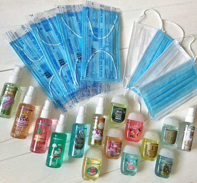 Комплекты: медицинские маски и санитайзеры для рук