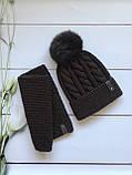 Зимняя детская вязаная шапка и снуд с натуральным бубоном для девочки и мальчика ручной работы, фото 2