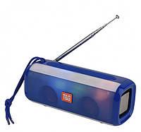 Беспроводная bluetooth колонка TG-144 FM 10 W с Радио антенной и разноцветной подсветкой Синяя