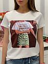 Белая и черная женская футболка из хлопка с рисунком 33ma275, фото 2