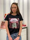 Белая и черная женская футболка из хлопка с рисунком 33ma275, фото 3