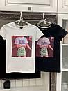 Белая и черная женская футболка из хлопка с рисунком 33ma275, фото 4