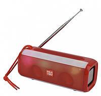 Беспроводная bluetooth колонка TG-144 FM 10 W с Радио антенной и разноцветной подсветкой Красная