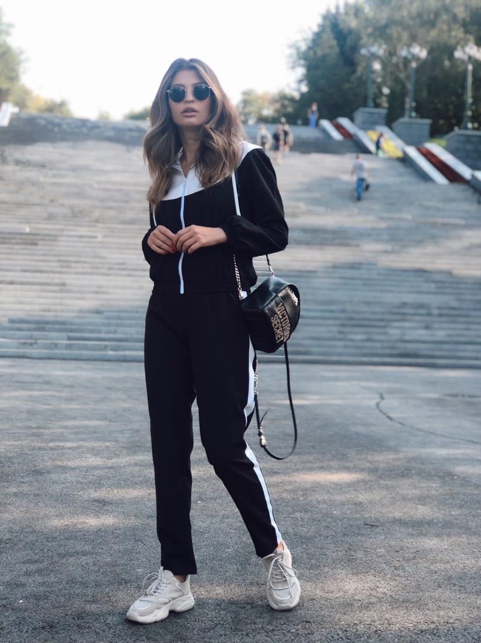 Женский спортивный костюм с мастеркой на молнии и с капюшоном 73rt888