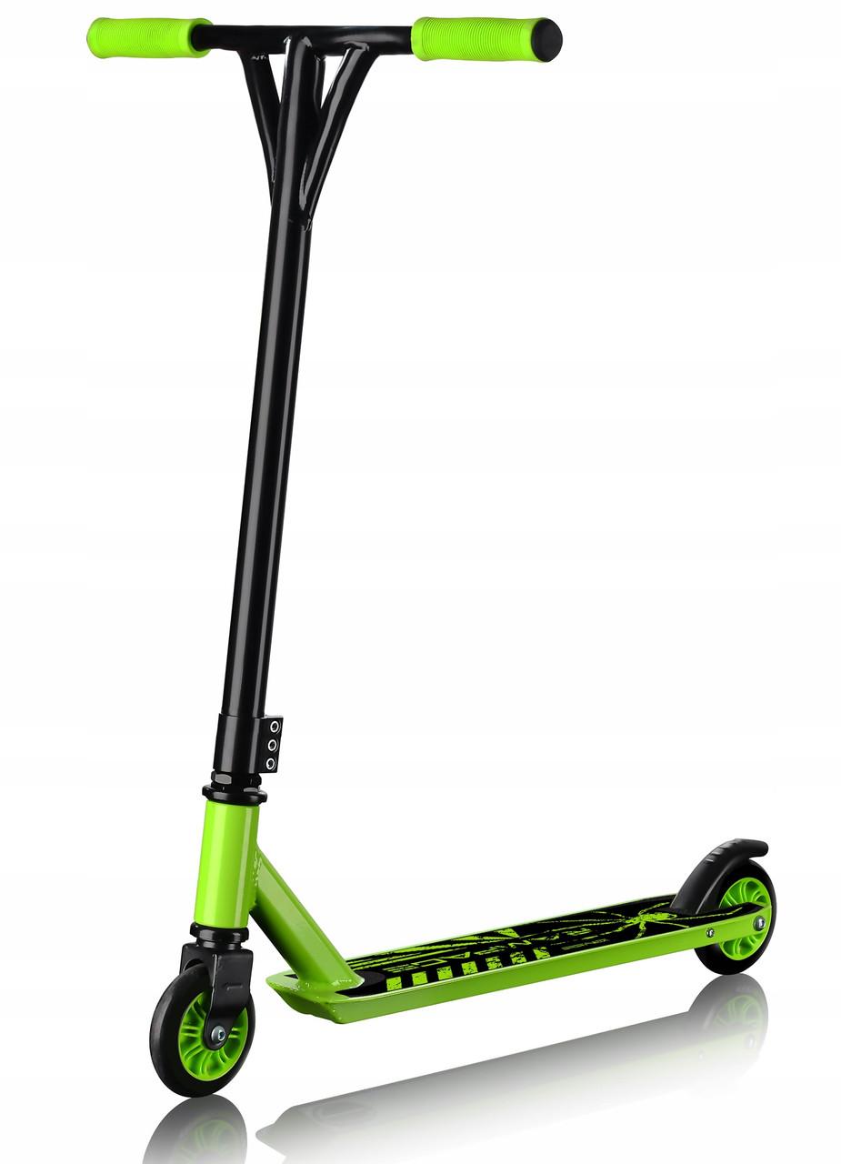 Самокат трюковой SportVida Rampage SV-WO0006 Black/Green усиленный с нагрузкой до 100 кг зеленого цвета