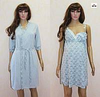 Женский комплект для беременных халат с ночной летний серый 44-54р., фото 1