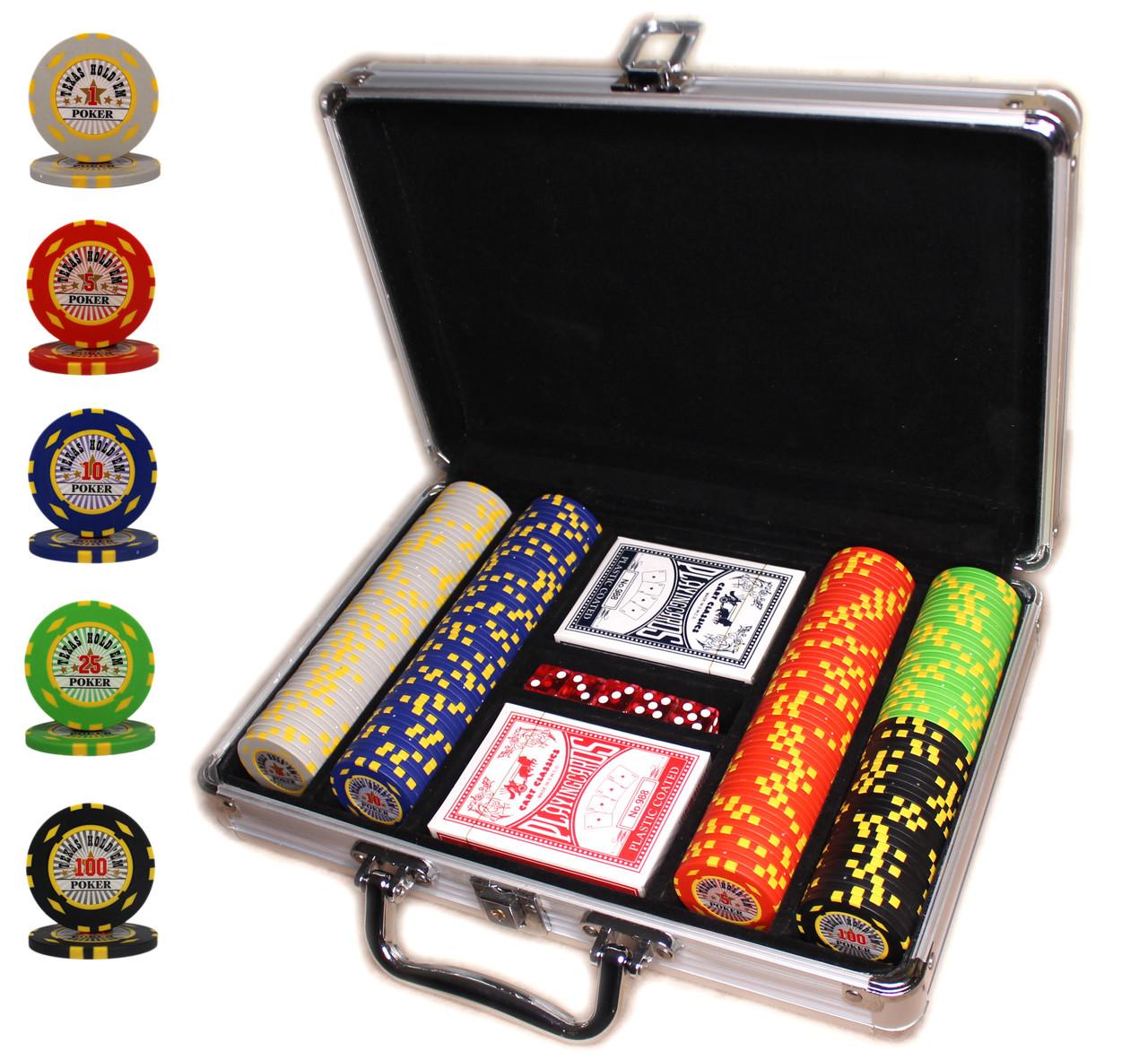 """Набор для покера """"Texas Holdem Poker"""" 200 фишек в чемодане"""