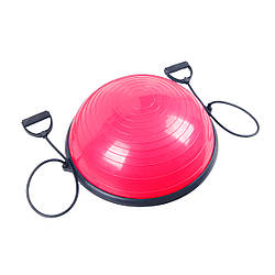 Балансировочная платформа с эспандерами Sport Shiny Bosu Ball 60 см SS6037-2 Pink нагрузка до 100 кг