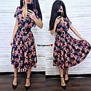 Принтованное летнее платье с расклешенной юбкой и верхом на запах 9plt1035, фото 3