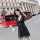 Платье из фатина расшитого пайеткой с расклешенной юбкой и верхом на запах 83plt1045, фото 2