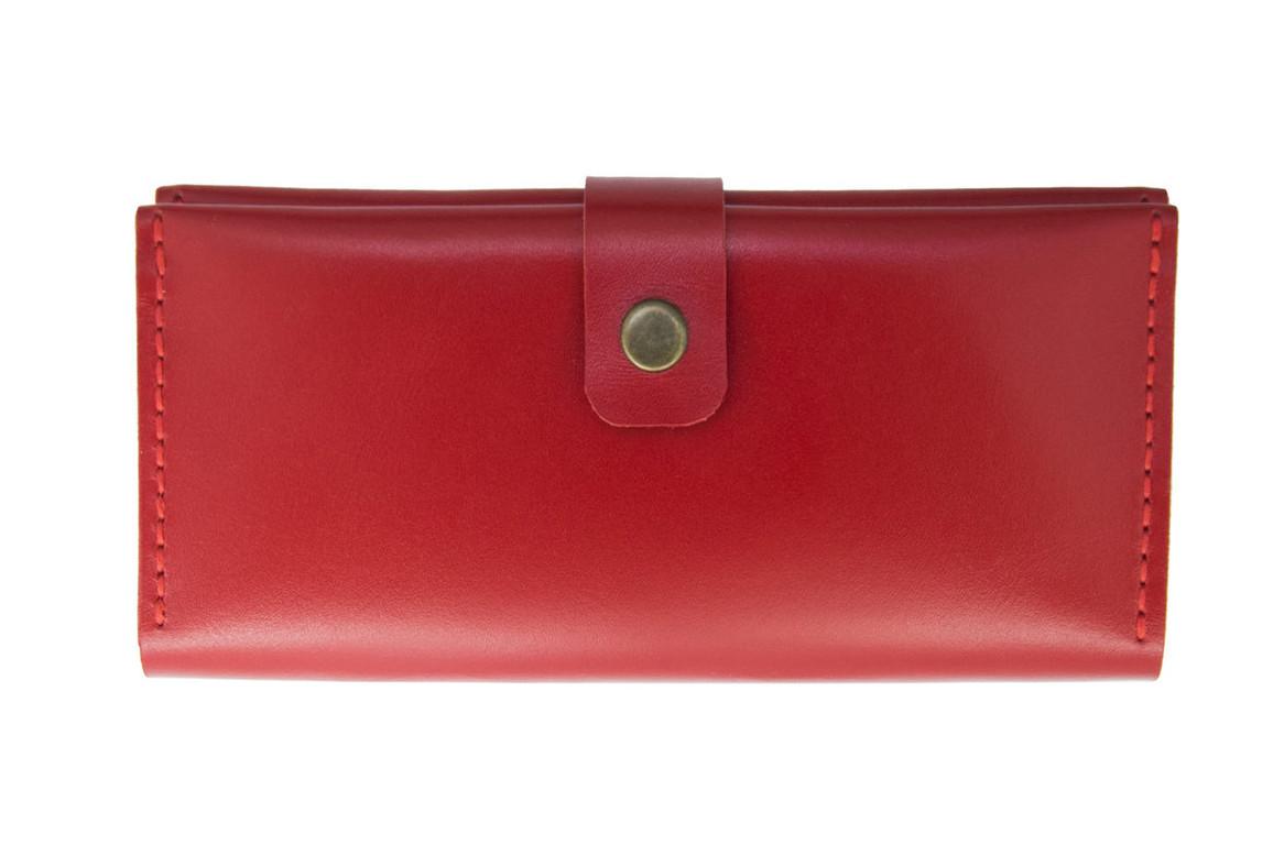 Большой кожаный женский кошелек Biggy красный