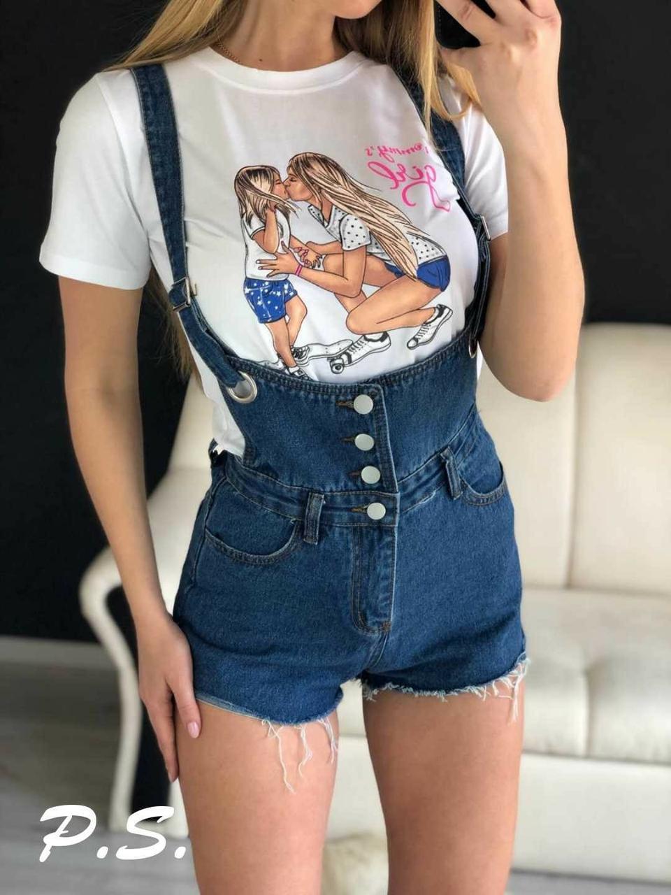 Джинсовые женские шорты на лямкам  76jus377