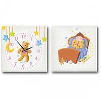 Часы настенные S&T детский на холсте Мишка 06-108