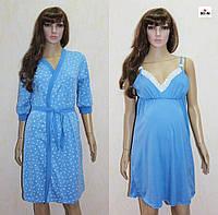 Женский комплект трикотаж стрейч халат и ночная рубашка 44-54р., фото 1