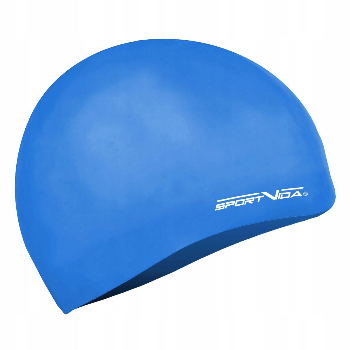 Шапочка для плавания безразмерная SportVida SV-DN0018 Blue 100% силикон синего цвета