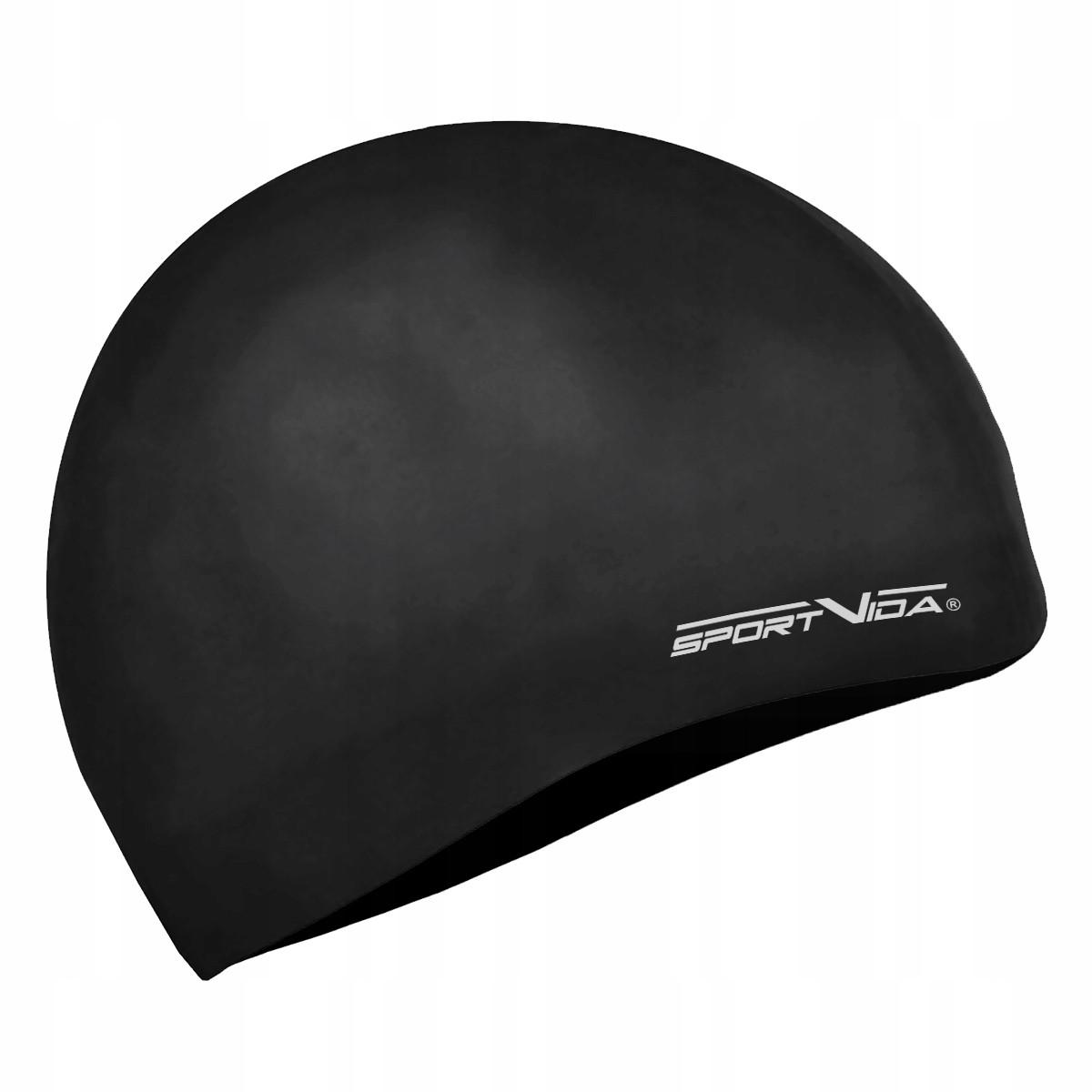 Шапочка для плавания детская безразмерная SportVida SV-DN0019JR Black 100% силикон черного цвета