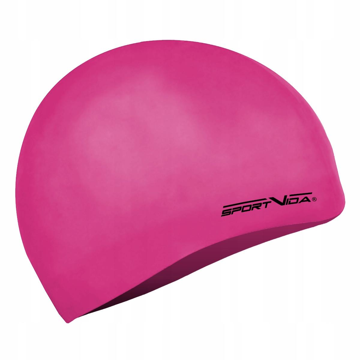 Шапочка для плавания детская безразмерная SportVida SV-DN0019JR Pink 100% силикон розового цвета