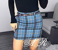 Фетровая женская юбка в клетку выше колена tez7911316, фото 1