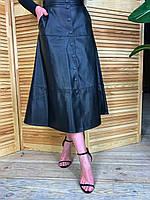 Женская кожаная юбка миди на пуговицах спереди tez5811360, фото 1