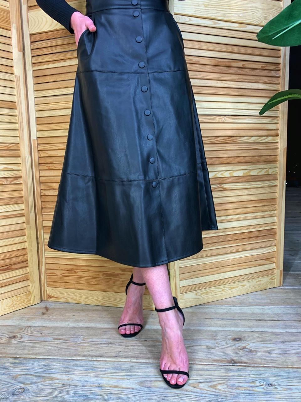 Женская кожаная юбка миди на пуговицах спереди tez5811360