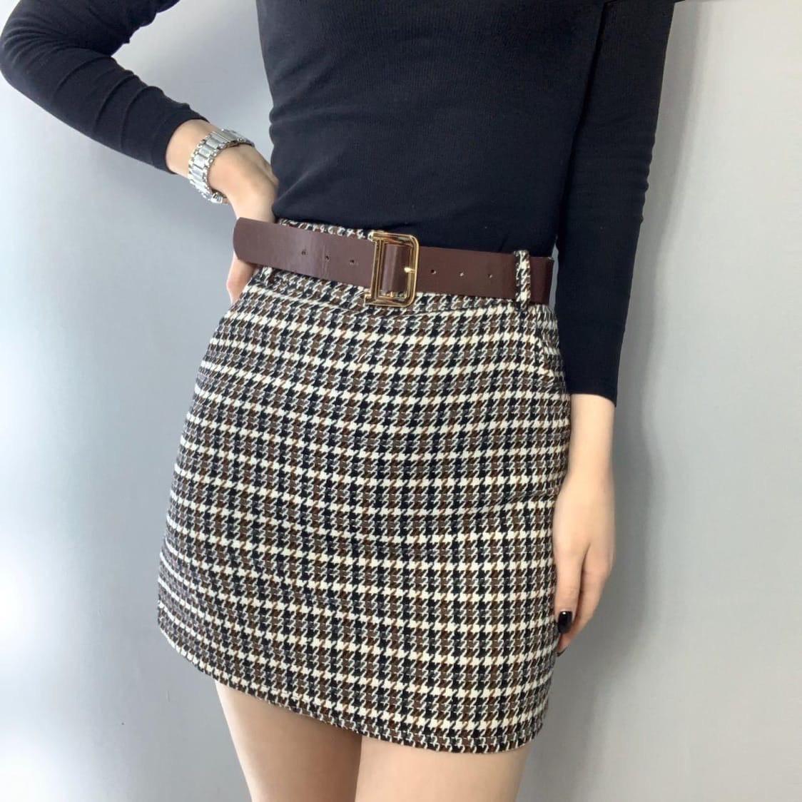 Твидовая женская юбка в клетку с поясом tez7311363