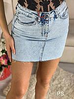Светлая женская джинсовая юбка с необработанными краями tez7611365, фото 1