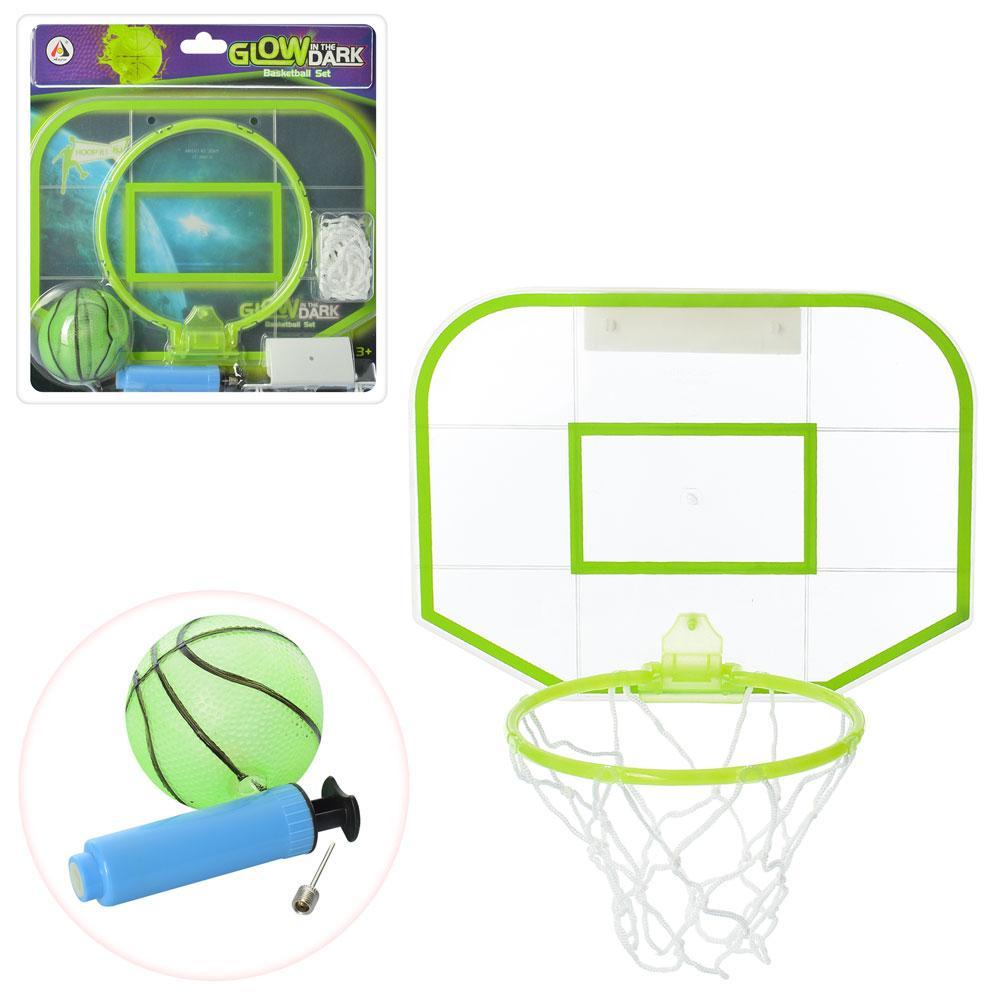 Баскетбольное кольцо, щит, сетка, мяч, насос, светится в тем