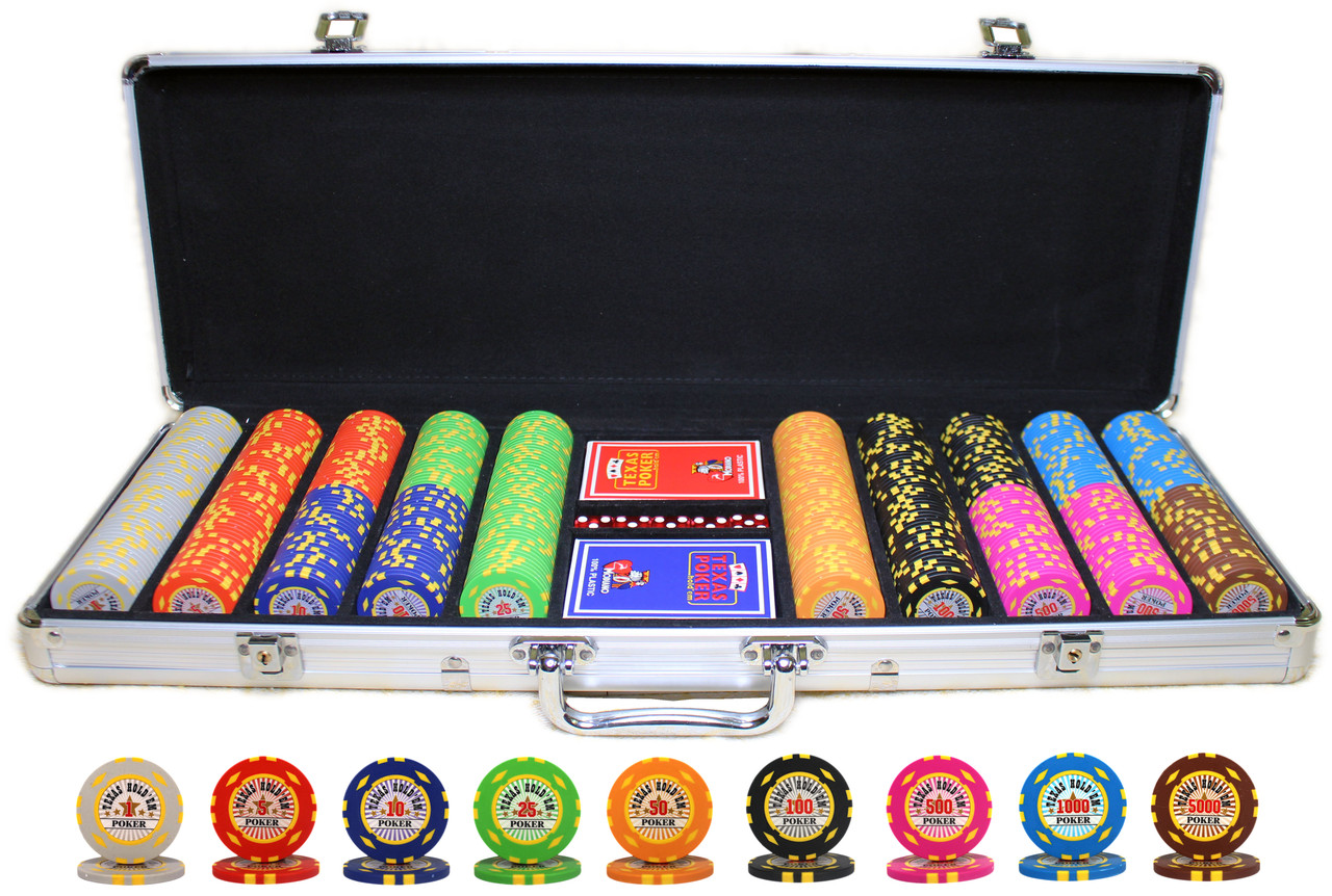 """Набор для покера """"Texas Holdem Poker"""" 500 фишек с номиналом"""