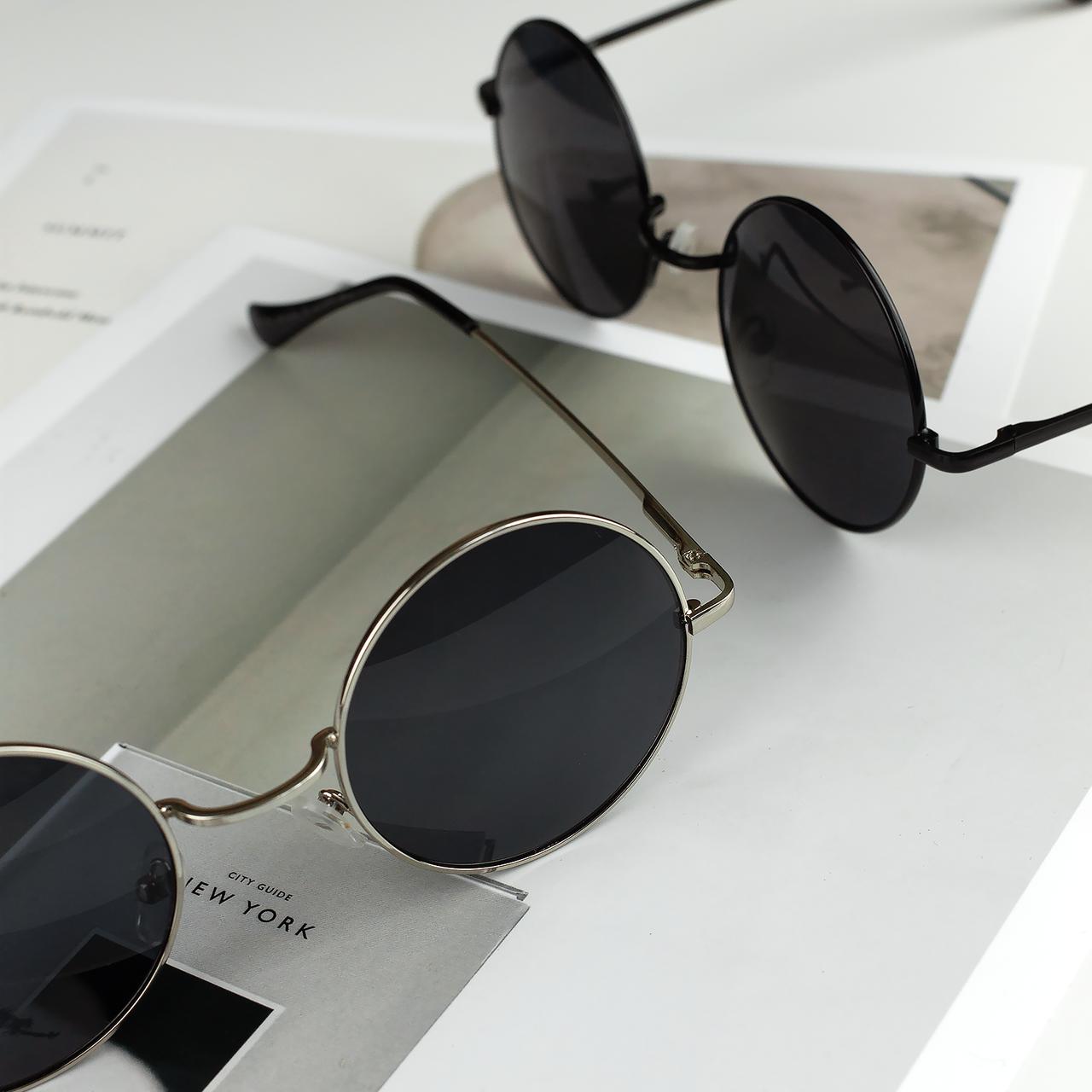 Солнцезащитные очки круглые стеклянные черные унисекс гарри поттера очки лепса джона ленона