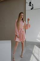 Стильное летнее женское платье из шелка армани на запах с юбкой солнце клешь и длинными рукавами(42-48), фото 1