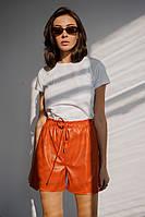 Женские стильные шорты-бермуды из эко-кожи с поясом на резинке и карманами (42-48), фото 1