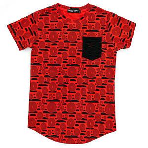 Футболка для мальчиков Small gang 140  красная 5613