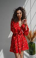 Стильное летнее женское платье с кружевом из супер софта с талией на резинке и длинными рукавами(42-48) красный