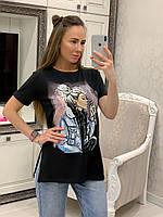 Летняя женская футболка удлиненная с рисунком 33mfu274, фото 1
