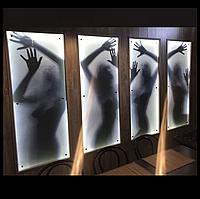 Картина Силуэт женщины - 4 модуля из стекла